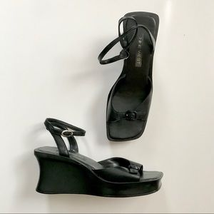 Vintage 90's Black Square Toe Platform Sandals